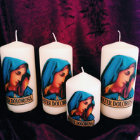 Virgin Mary Mater Dolorosa Shabby Chic Religious Candle