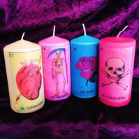 Four Kitsch La Loteria Mexican Scented Candles