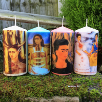 Four Kitsch Mexican Frida Kahlo Self Portraits Scented Candles