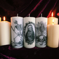 Three Gothic Skull Death Candles