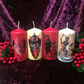Set Of 4 Kitsch Christmas Krampus Scented Candles