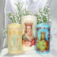 Set of Three Religious Kitsch Scented Candles