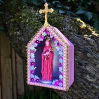 Kitsch Handmade Pink Virgin Mary Love Chapel Shrine