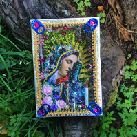 Kitsch Virgin Mary Our Lady of Sorrows Mater Dolorosa Handmade Mexican Shrine