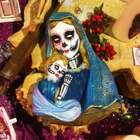 Day Of The Dead Mother and Child Dia de Los Muertos Virgin Mary Wall Bust