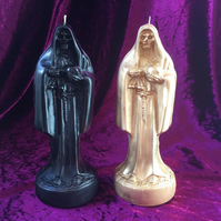 Tall Figure Grim Reaper Santa Muerte Black & Gold Soy Wax Candle