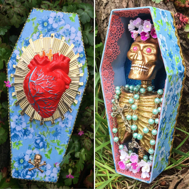 Floral Kitsch Day Of The Dead Sacred Human Heart Altar Coffin