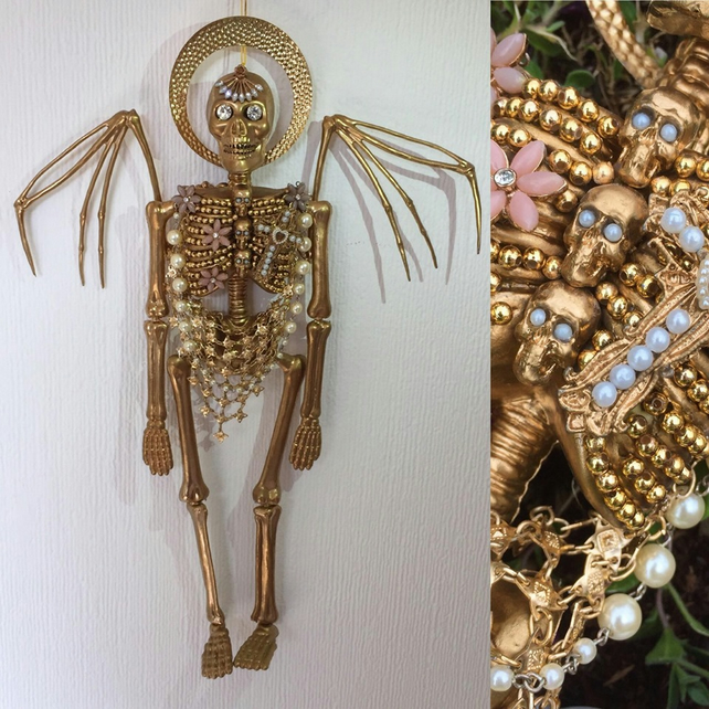 Gold Baroque Angel Of Death Kitsch Day Of The Dead Wall Hanging Skeleton