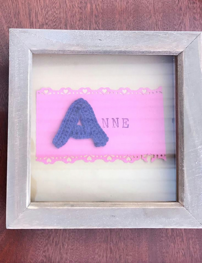 Personalised Crochet Name Box Frame