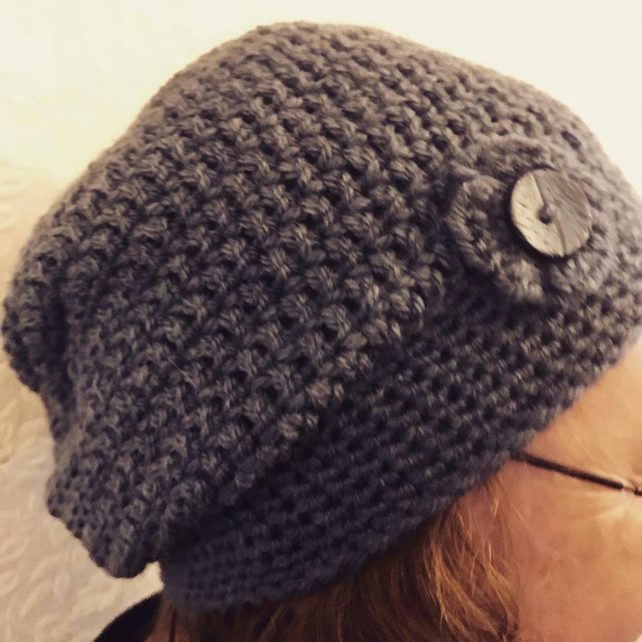 Slouchy Charcoal Crochet Hats
