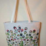 Peacock fluttering its feathers large tote shopping bag