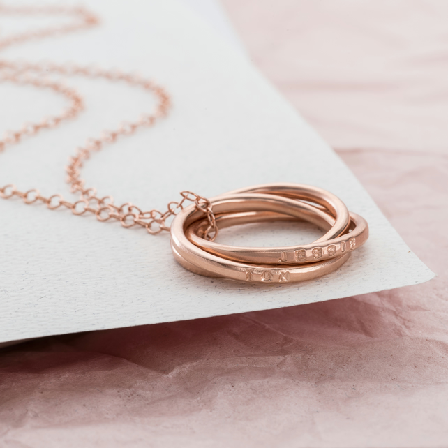 Personalised Rose Gold Secret Russian Ring Necklace