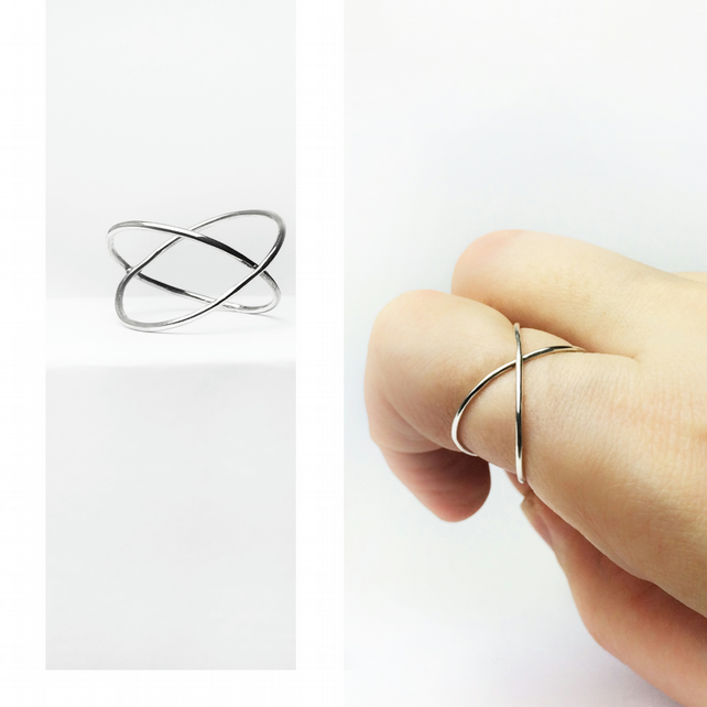 Silver Sterling Crossover Ring  Stackable Ring Minimalist Ring Gift for her
