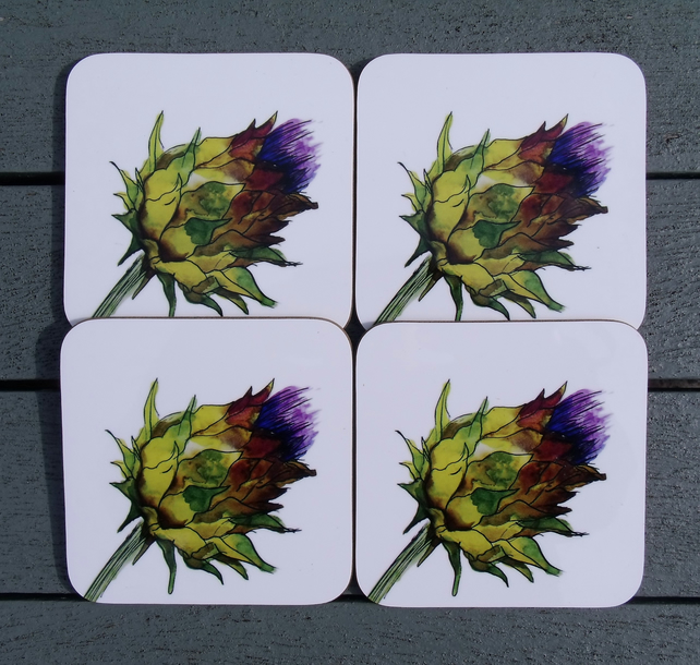 Thistle Coaster Set of 4 - Scottish Gift
