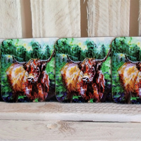 Highland Cow Coaster Set of 4 - Scottish Gift