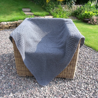 Grey Merino Wool Crochet Blanket - Throw