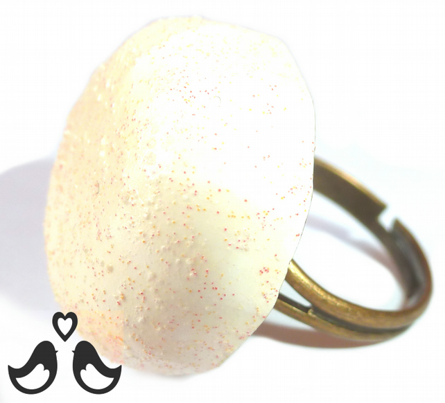 Cream ring, stone ring, adjustable ring, statement ring, handmade, gift for her.