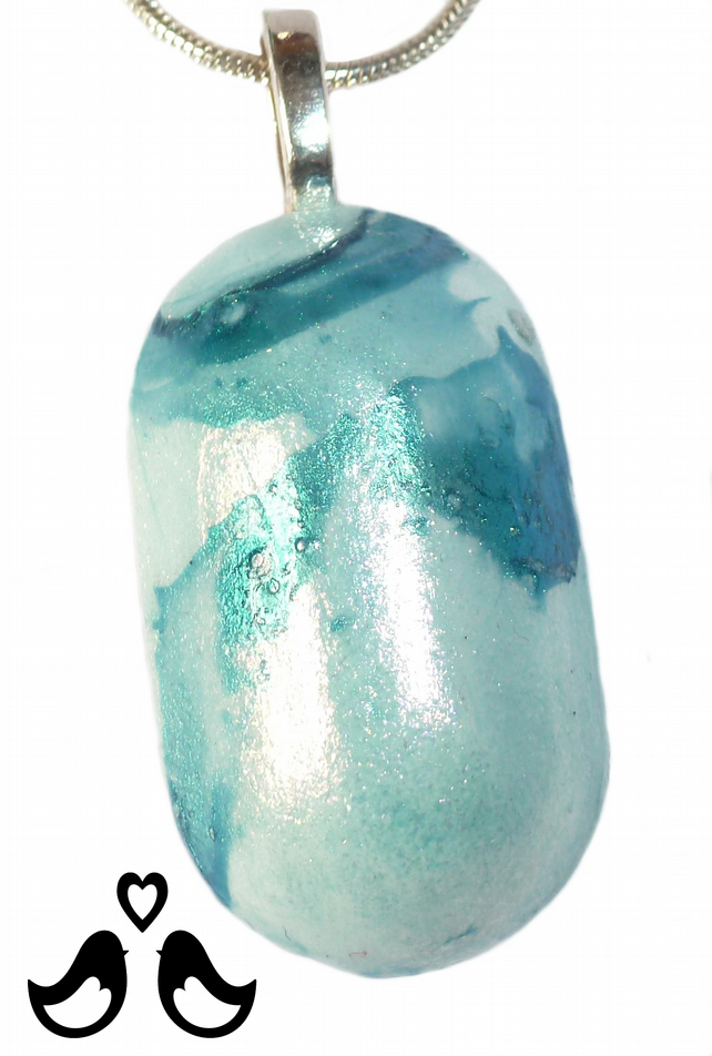 Turquoise & silver marbled small oval pendant, handmade, ooak, women's necklaces