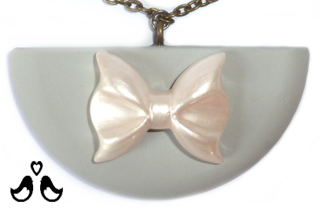 Semicircle pendant, grey pendant, handmade, necklaces for women, ivory bow