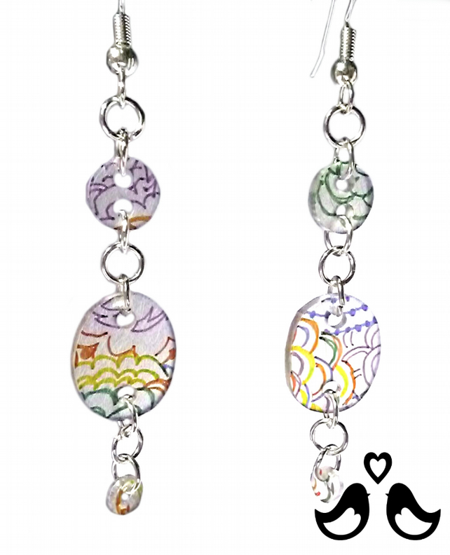 Multicoloured hand drawn design dangle earrings with silver plated wires