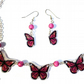 Pretty pink butterfly necklace and earring set, handdrawn and handmade.