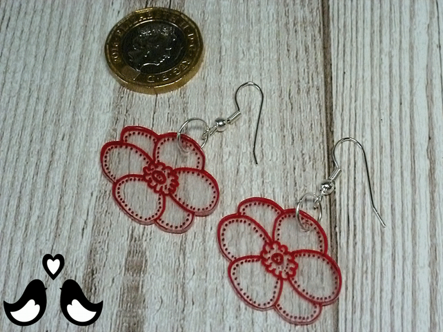 Red flower earrings, dangle earrings, drop earrings, handmade, women's earrings