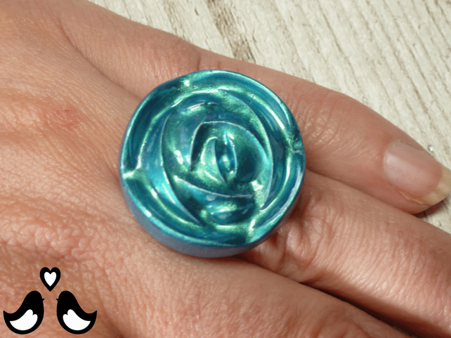 Turquoise sea-green Art Deco ring, flower ring, rose ring, handmade, womens ring