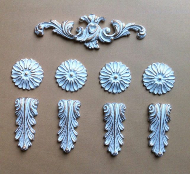 Set of nine decorative furniture embellishment mouldings