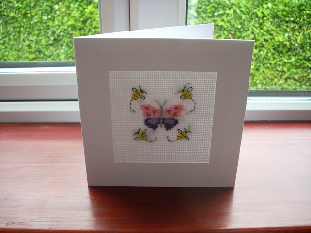 Butterfly and bees cross stitch card