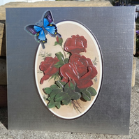 Note Card - 3D Roses and Butterfly  (SQ016)