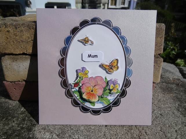 Card - Mum:-3D flowers (SQ027)