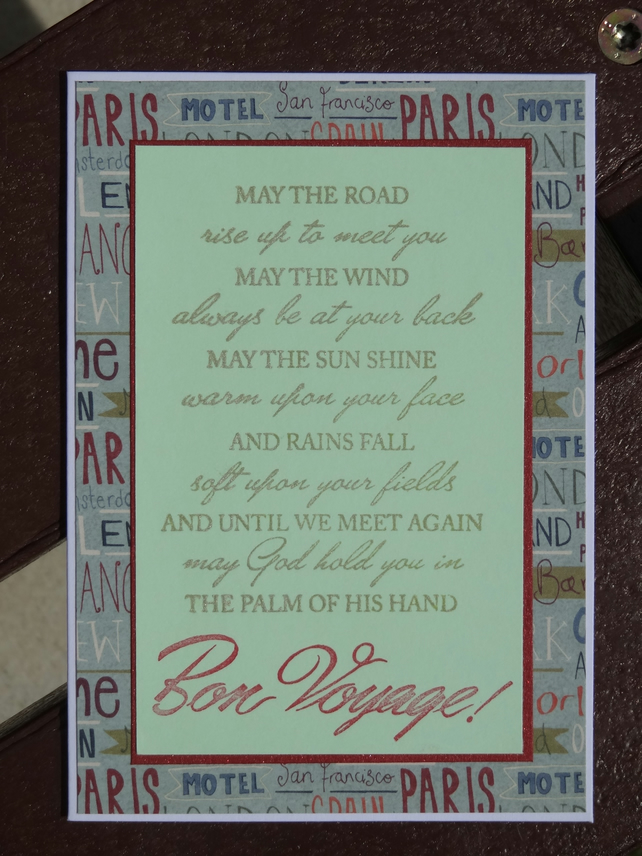 Card - Irish Blessing - May the road rise up to meet you          (A6016)