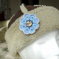 Brooch -  Blue Flower with butterfly button centre (B003)