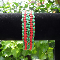 Double Wide Solomon Macrame Bracelet (B066)