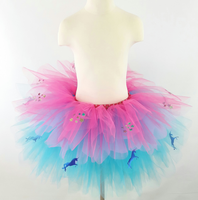 Girls Blue unicorns & sparkly stars,Multi Layered Tutu