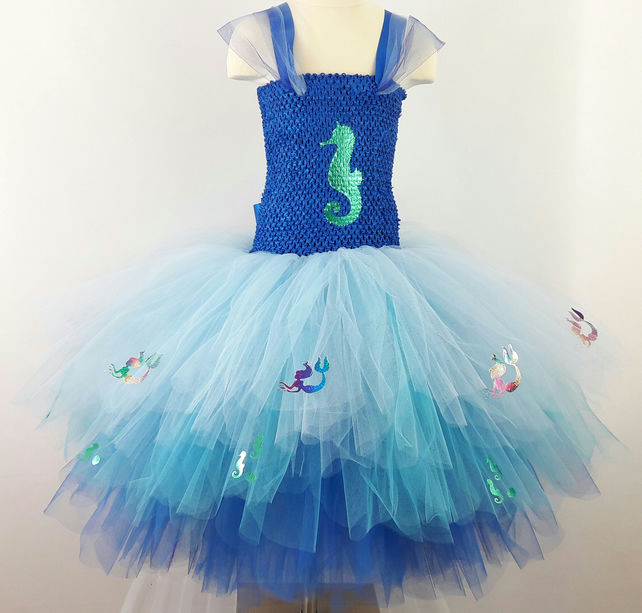 Seahorse and Sparkly Mermaids,Multi Layered Childrens Tutu Dress