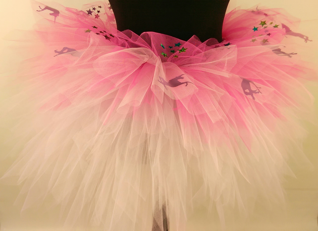 Girls Pink unicorns & sparkly stars, Light Pink & Medium Pink Multi Layered Tutu