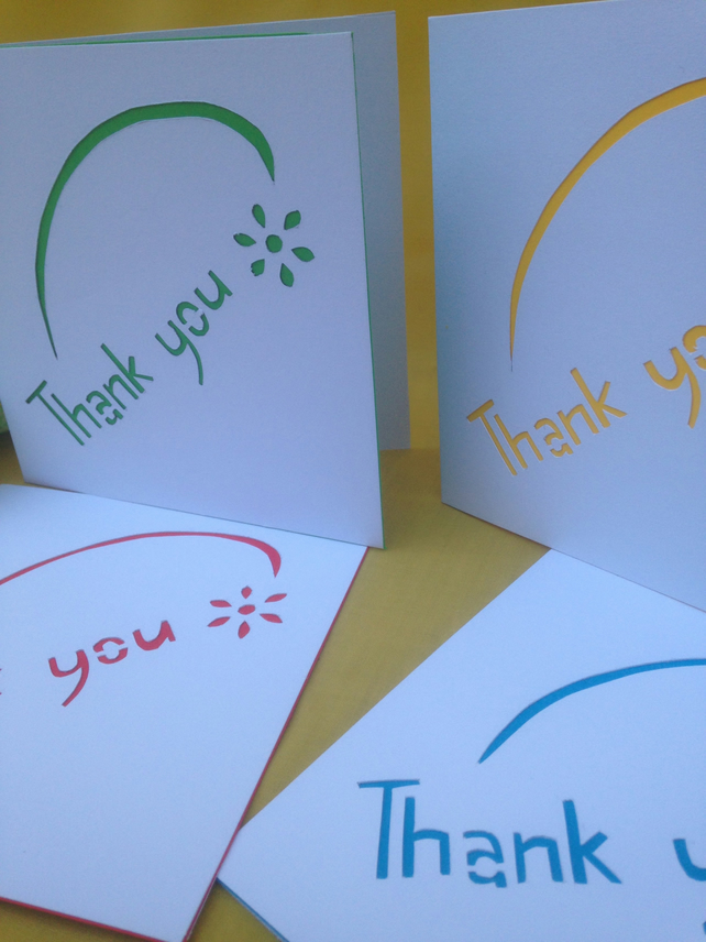 Thank you cards, pack of 4.