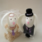 White Rabbit, Wedding Cake Toppers, Felt Rabbits,  Cake Decor, Rabbit Decor