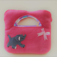 Child's Felt Bag, Pink Child's Bag, Felt Child's Bag, Embroidered Bag