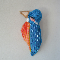Kingfisher Bird Brooch, Blue Bird Accessory, Felt Bird Brooch