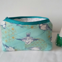 Fabric Toiletries Bag,  Blue make up bag, Quilted bag