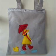Grey Tote Bag, Child's Tote Bag, Cotton Tote Bag, Embroidered Tote Bag, Book Bag