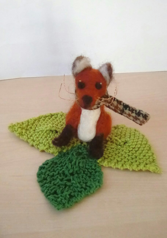 Felted Fox, Felted Animal, Red Fox, Fox sculpture
