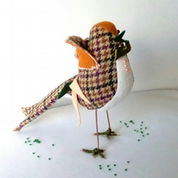 Tweed Bird, Handmade Bird, Bird Sculpture, Brown Bird, Green Bird