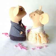 Wedding Mice Cake Toppers, Felt Mice, Handmade Mice