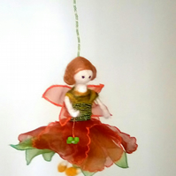 Felted Fairy, flower Fairy, Nursery Decor, Fairy Doll