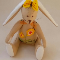 Embroidered Rabbit, Handmade Rabbit, Embroidered Animal