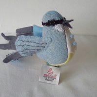 Tweed Bird, Handmade Bird, Bird Sculpture, Blue Bird, Grey Bird
