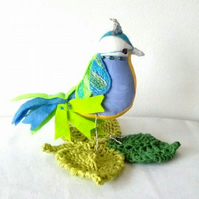 Fabric Bird, Handmade Bird, Jeweller Bird, Blue Tit ornament